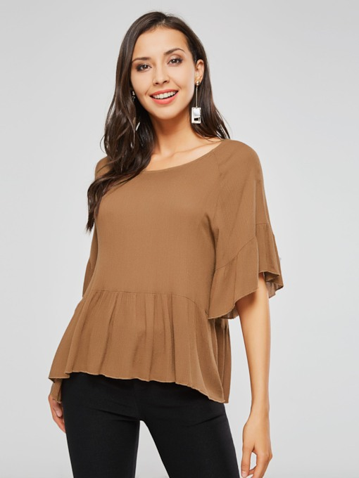Peplum Half Sleeve Round Neck Pleated Women's Blouse