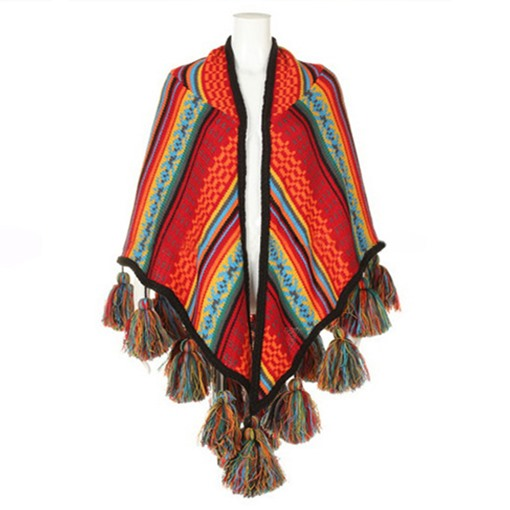 Bohemian Pompon Tassel Wool Blends Shawl