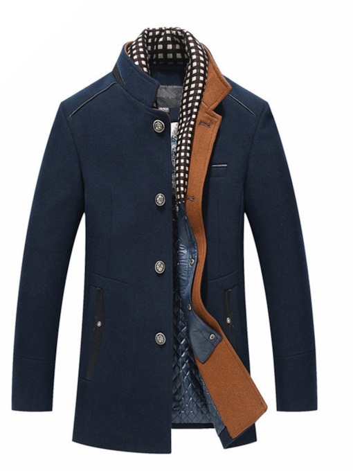 Stand Collar Slim Patchwork Mid-Length Men's Coat