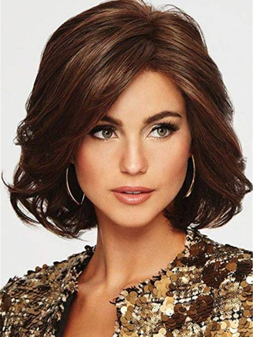 Mid Length Bob Type Synthetic Wavy Hair Capless Wig
