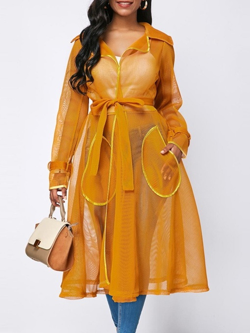 Mesh Lapel Lace-Up See-Through Women's Trench Coat