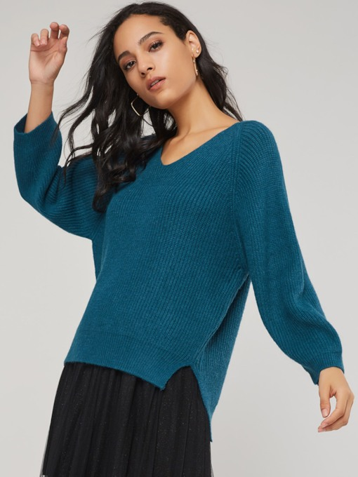 Asymmetric Mid Length Solid Color Women's Sweater