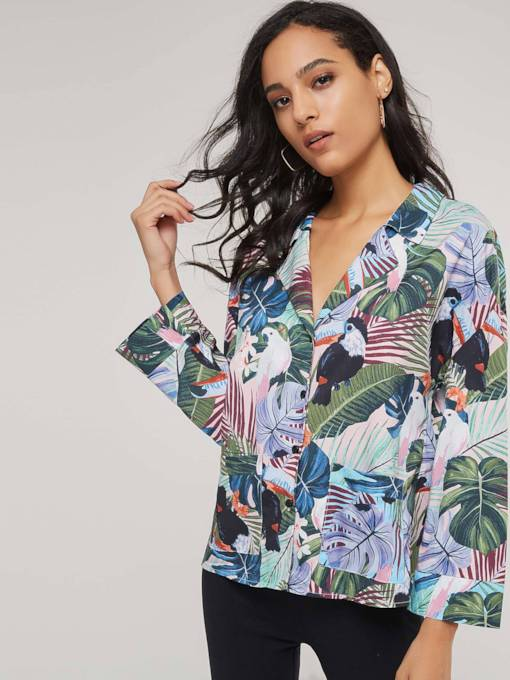 Holiday Floral Single-Breasted Women's Shirt