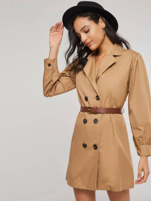 Double-Breasted Lapel Women's Long Sleeve Dress