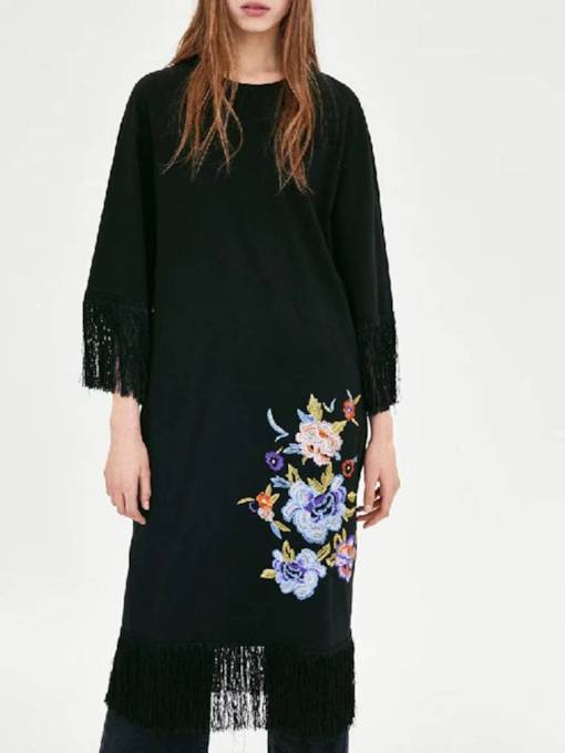 Embroidery Tassel Women's Long Sleeve Dress