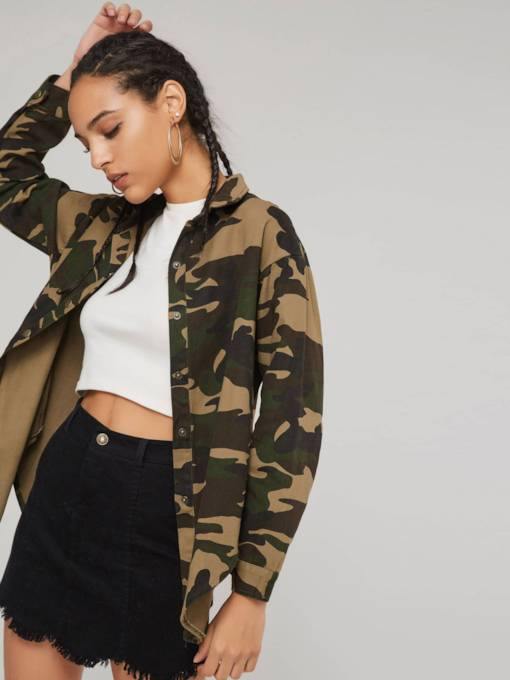 Camouflage Lapel Single-Breasted Women's Jacket
