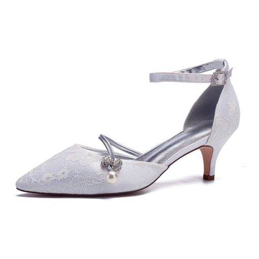 Lace Pointed Toe Rhinestone Bead Stiletto Heel Bridal Shoes