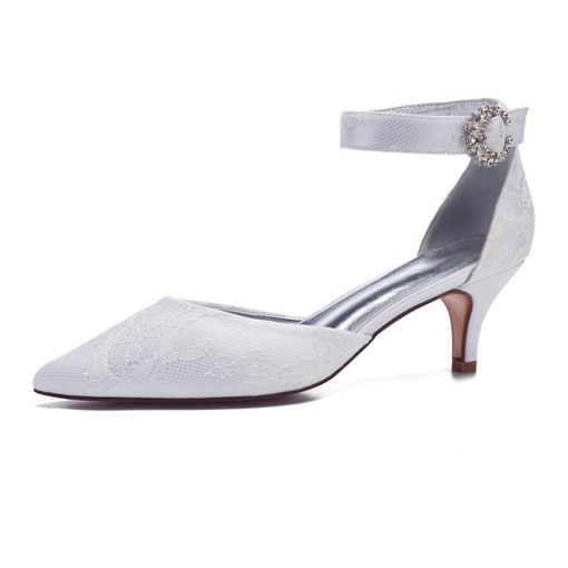 Lace Pointed Toe Line-Style Buckle Plain Wedding Shoes