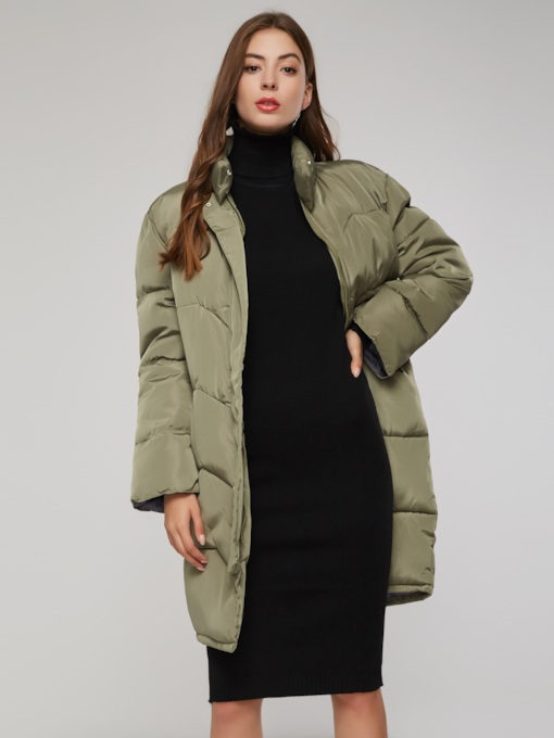 High Neck Zipper Up Bell Sleeve Mid Length Puff Women's Cotton Padded Jacket