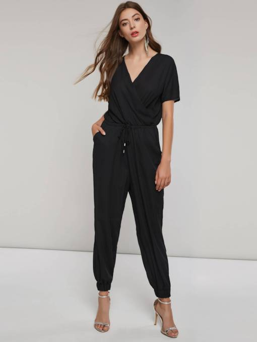 Short Sleeve Pleated Tie Waist Harem Women's Jumpsuit