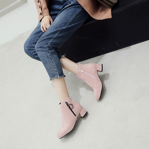 Round Toe Side Zipper Suede Chunky Heel Women's Ankle Boots