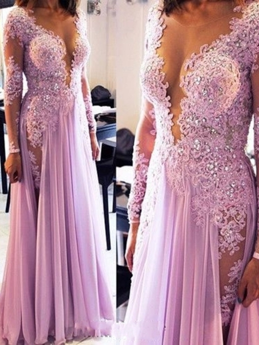 Sexy V-Neck Appliques Beading Long Sleeves Evening Dress