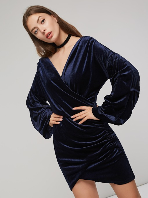 V-Neck Asymmetrical Women's Long Sleeve Dress