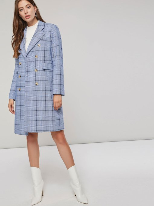Double-Breasted Plaid Print Mid-Length Women's Overcoat