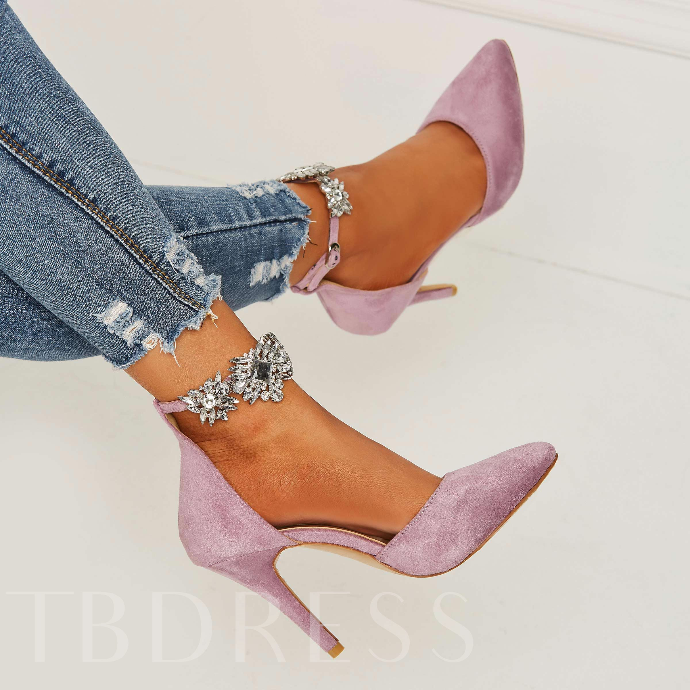 Pointed Toe Line-Style Buckle Rhinestone Stiletto Heel Women's Pumps