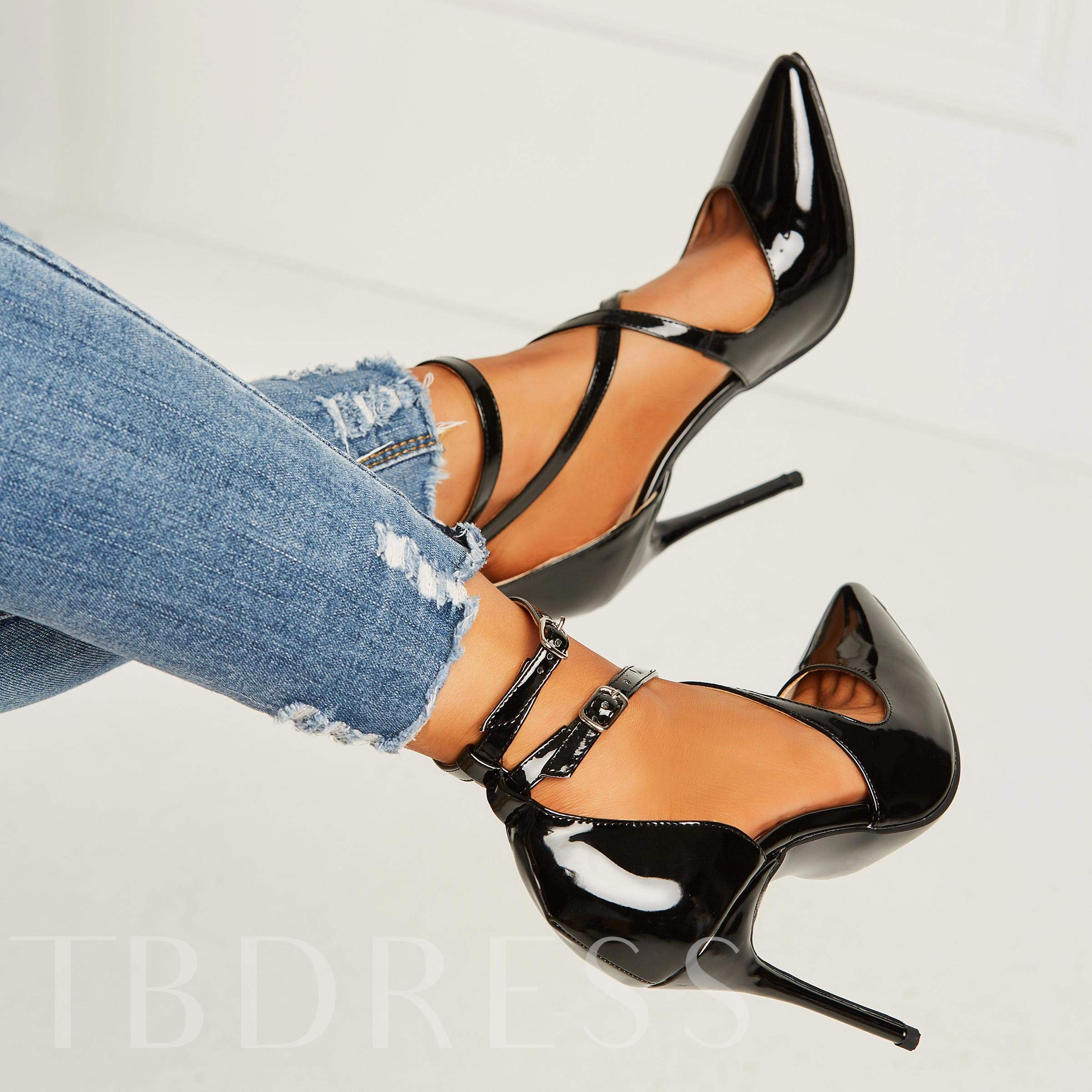 Stiletto Heel Pointed Toe Buckle Sexy Women's Pumps