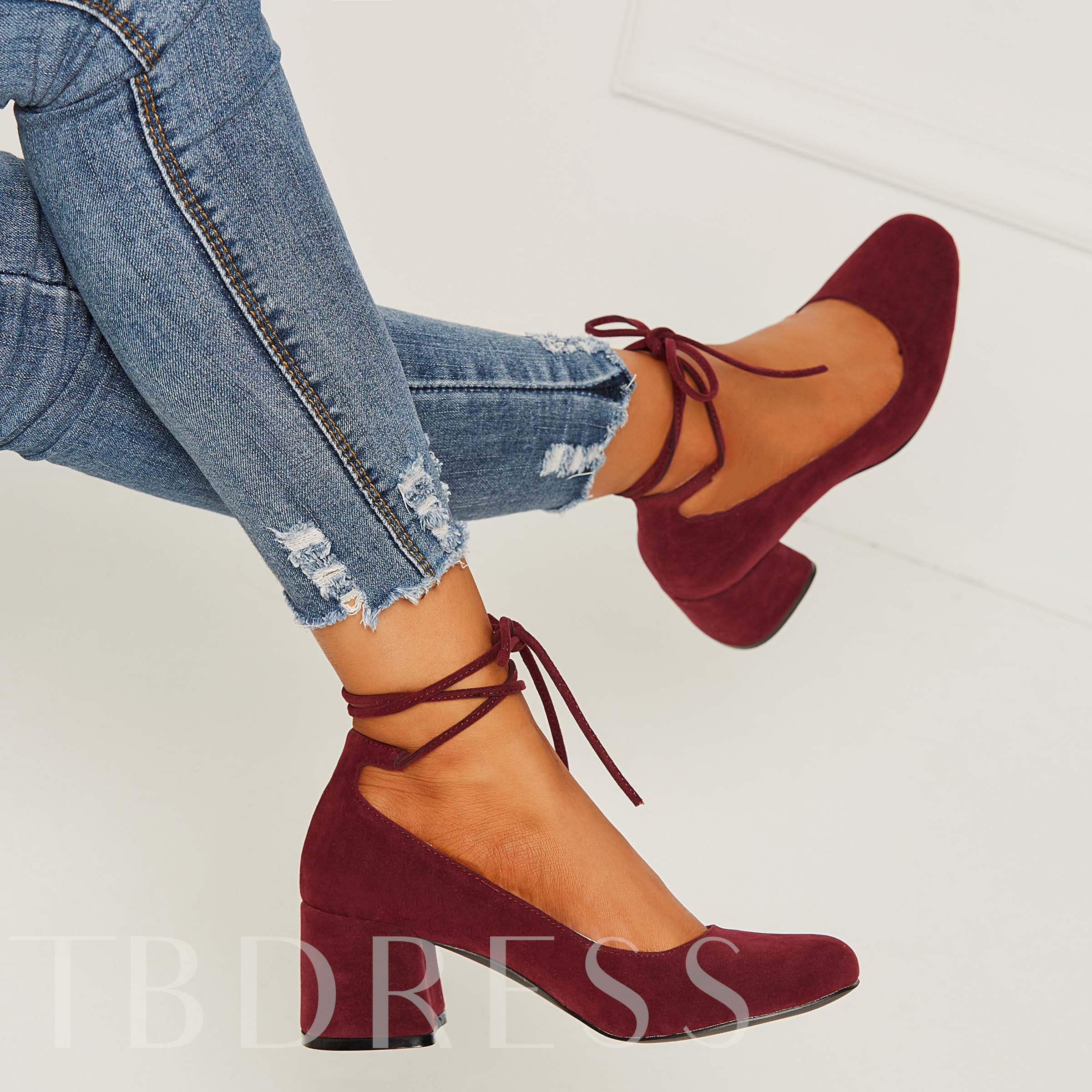 Chunky Low Heel Lace-Up Round Toe Women's Pumps