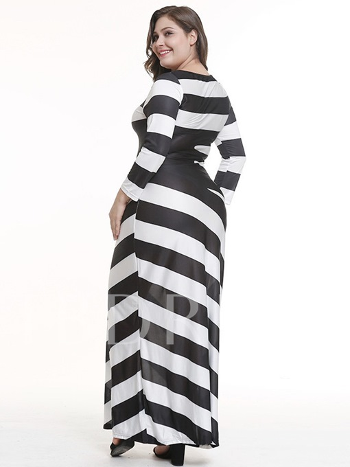 Nine Points Sleeve Stripe Women's Maxi Dress
