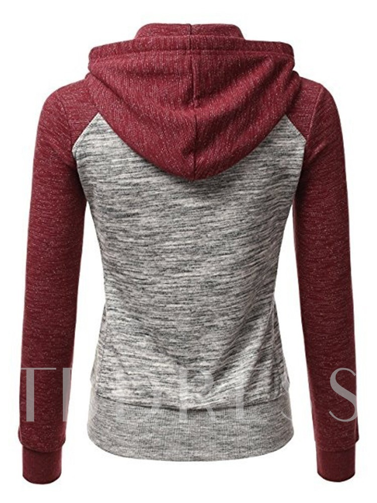 Color Block Zipper Raglan Sleeve Women's Hoodie