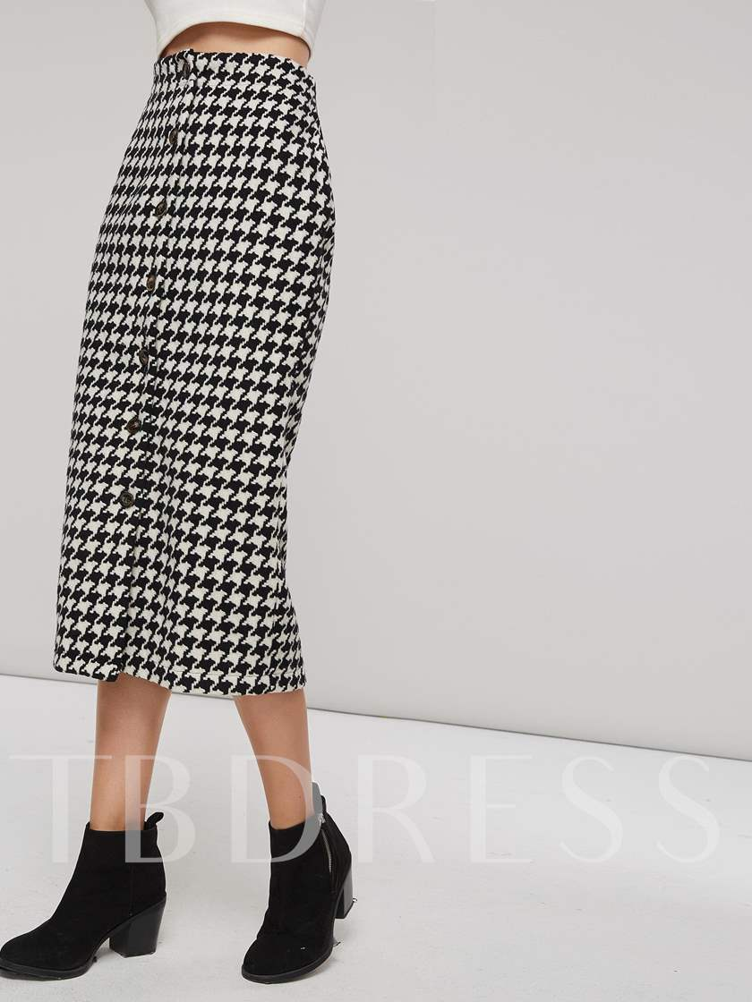 Houndstooth Single Breasted Bodycon High Waist Women's Skirt
