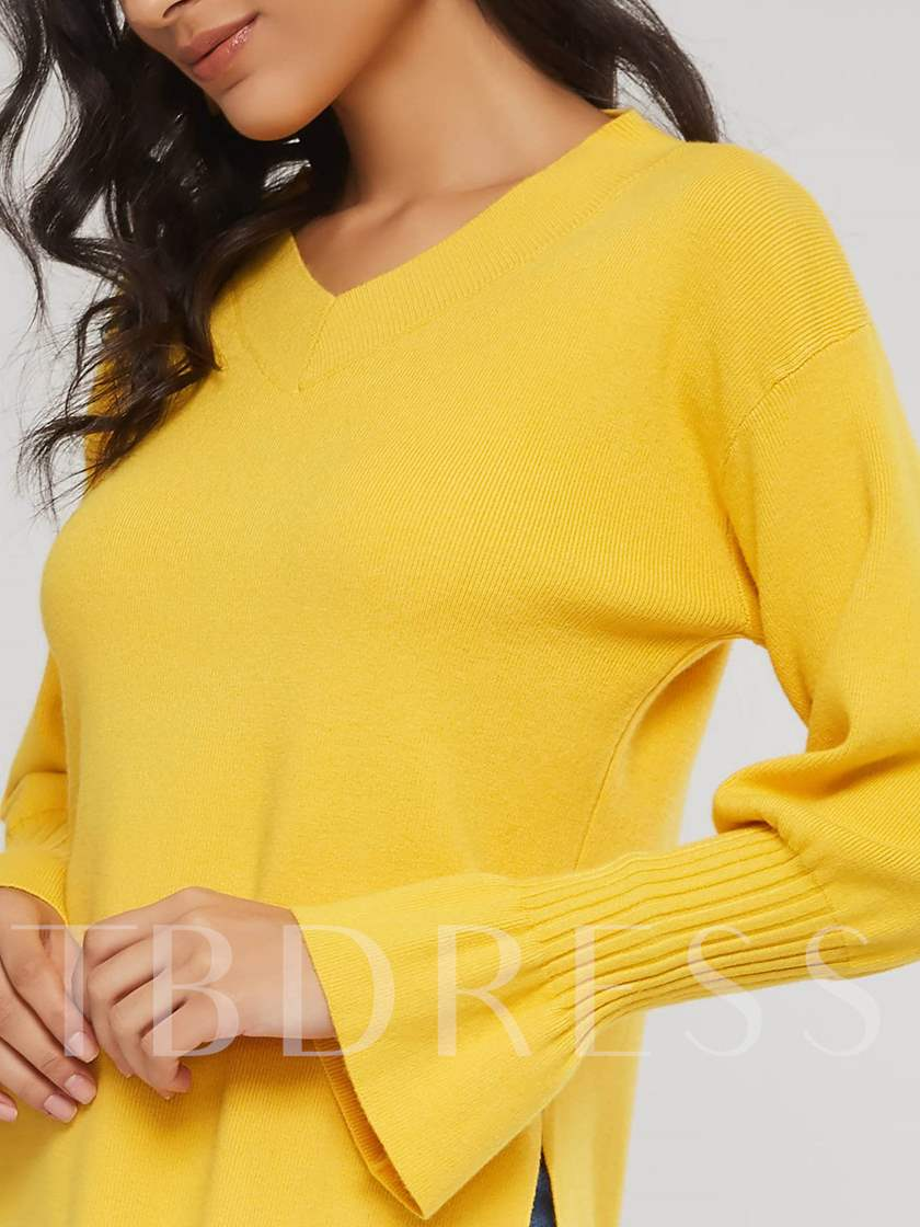 Flare Sleeve V-Neck Solid Color Women's Sweater