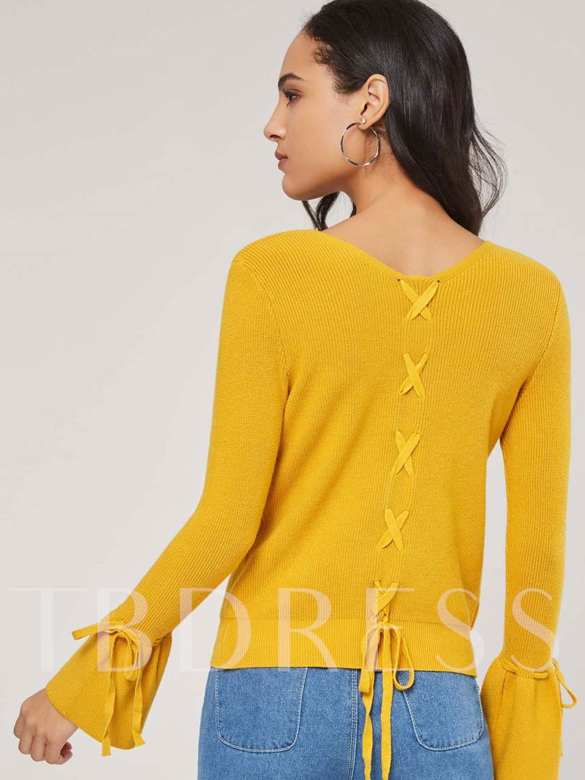Flare Sleeve Lace Up V-Neck Thin Women's Sweater