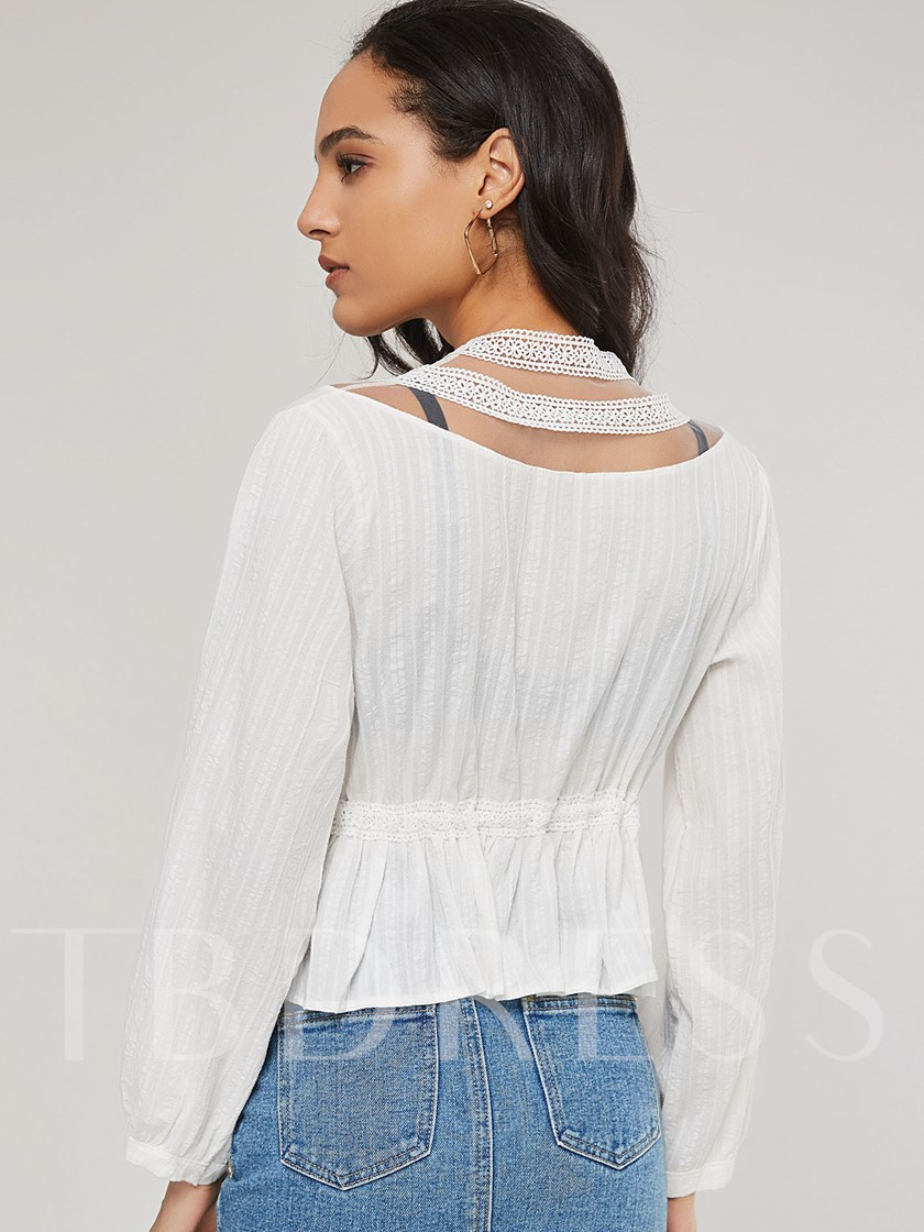 Lace See-Through Deep V Sexy Women's Blouse