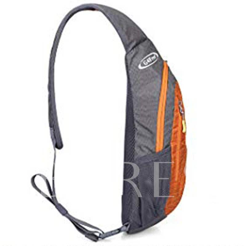 Rectangle Nylon Color Block Zipper Men's Sling Bag