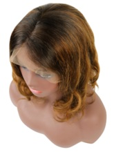 Women's Short Layered Hairstyle Mixed Color Human Hair Wigs Lace Front Cap Wigs 12Inches