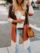 Color Block V-Neck Long Women's Cardigan