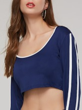 Stripe Skinny Top and Pants Women's Two Piece Set
