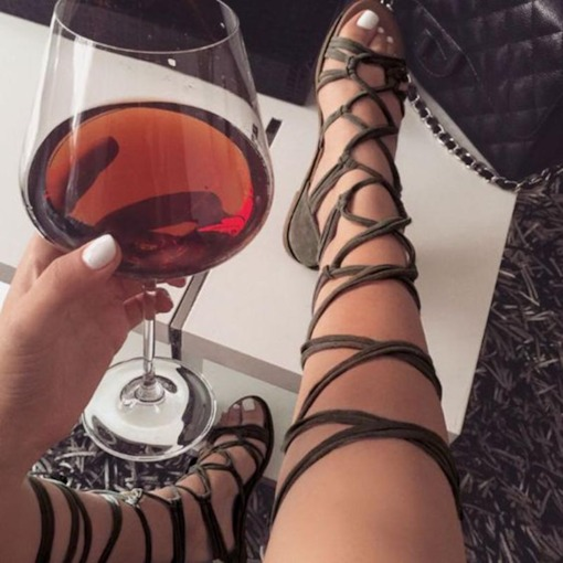 High Shaft Lace-Up Flat Sandals
