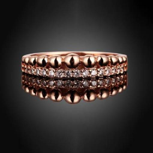 Rose Gold Rhinestone Inlaid E-plating Party Ring