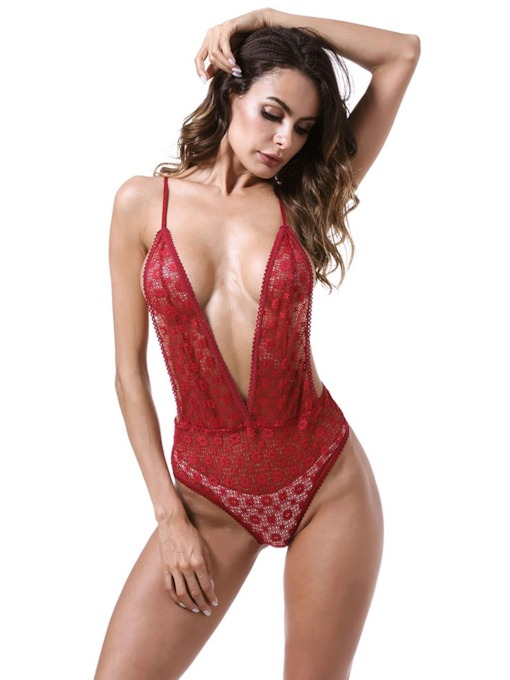 Deep-V Backless Tight Wrap Sexy Teddy Bodysuit