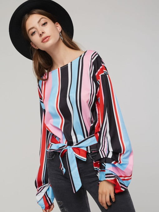 Tie Waist Lantern Sleeve Stripe Color Block Women's Blouse