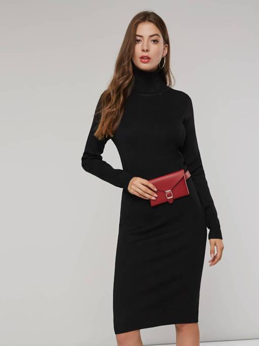 High Neck Long Sleeves Women's Sweater Dress