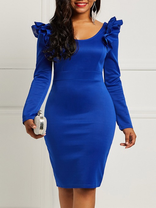 Long Sleeve Patchwork Round Neck Pencil Women's Bodycon Dress