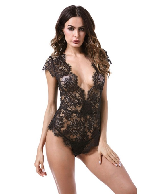 Deep-V See-Through Lace-Up Sexy Teddy