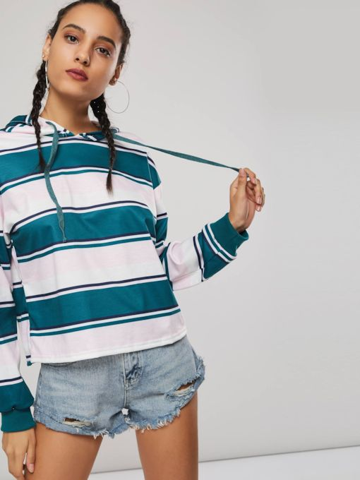 Stripe Print Contrast Color Pullover Women's Hoodie