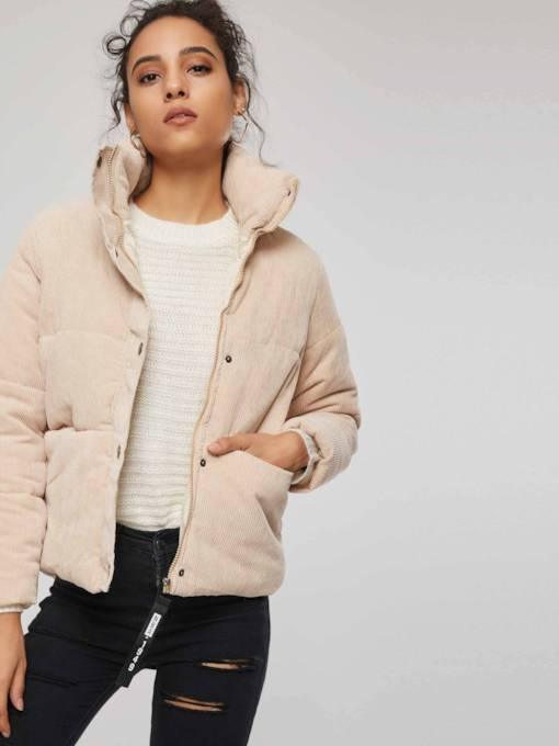 High Neck Single-Breasted Women's Cotton Padded Jacket