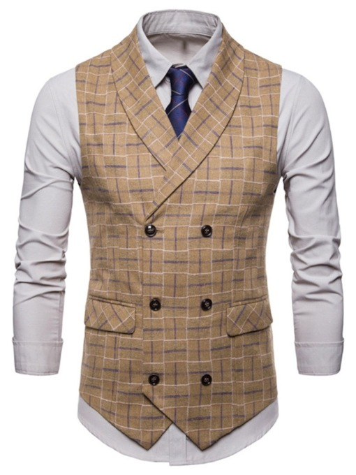Lapel Plaid Pattern Double-Breasted Men's Vest