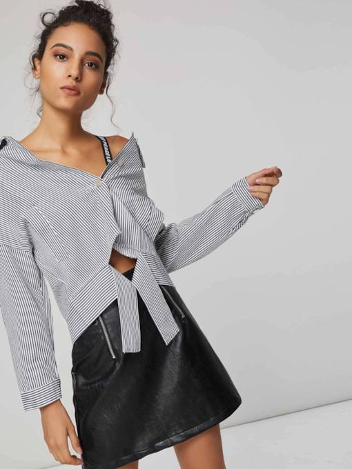 Lace Up Single-Breasted Stripe Print Women's Thin Jacket