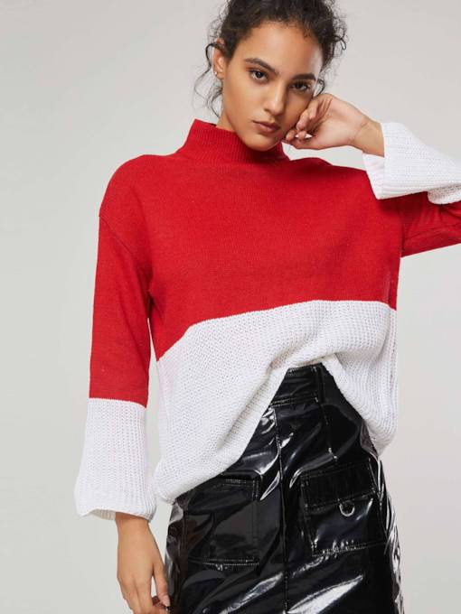 High Neck Bell Sleeve Contrast Color Women's Sweater