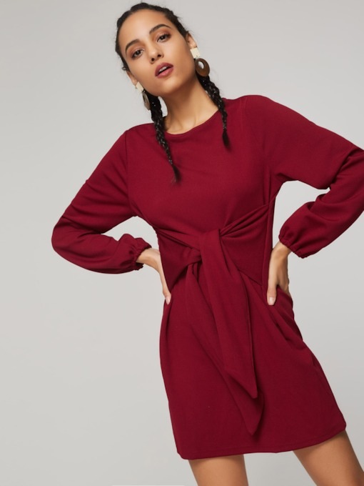 Lace-Up Plain Pullover Women's Long Sleeve Dress