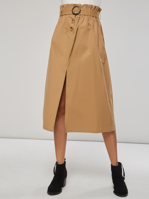 A Line Elastic Waist Split Belted Women's Skirt