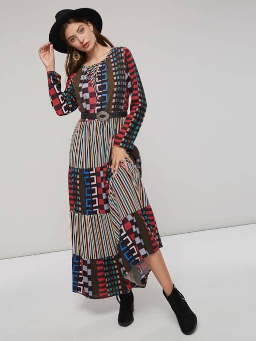 Long Sleeves Stripe Plaid Women's Maxi Dress