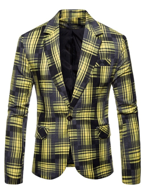 Loose Lapel One ButtonPlaid Patchwork Men's Blazer