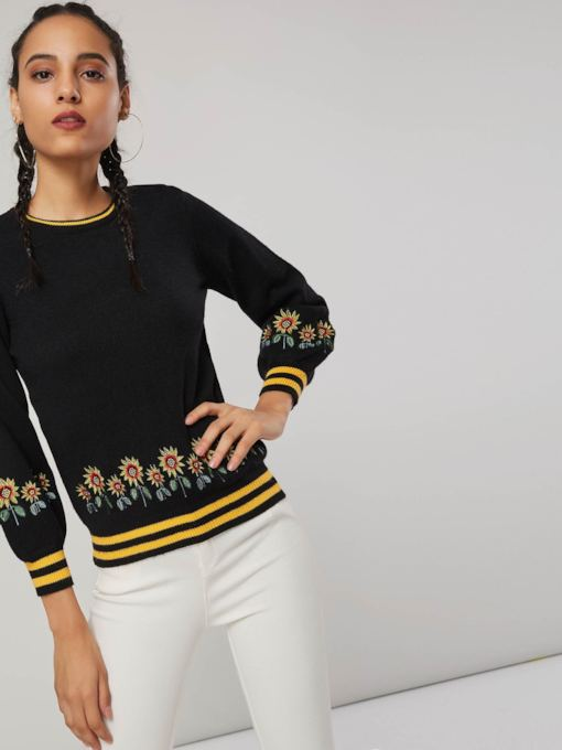 Lantern Sleeve Floral Embroidery Women's Sweater