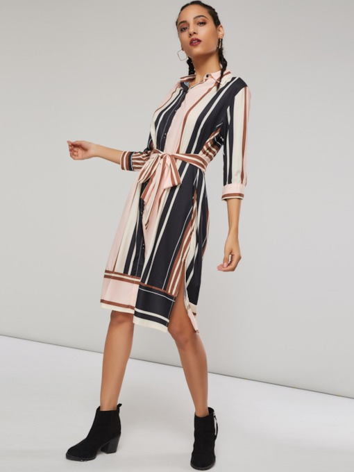 Stripe Polo Neck Lace-Up Women's Day Dress