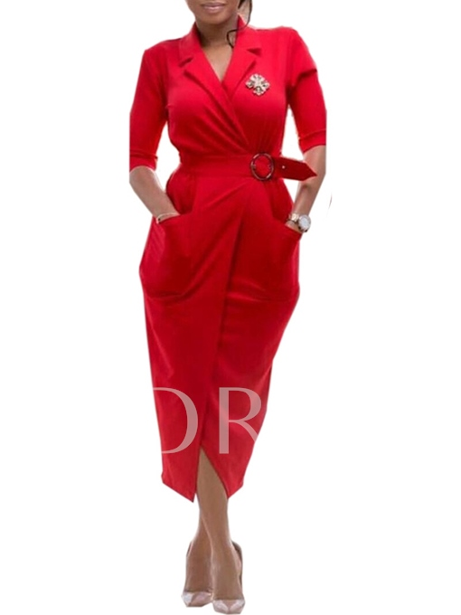 Half Sleeve Notched Lapel Belt Women's Sheath Dress